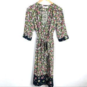 Zara Floral Wrap Midi Dress Size Medium